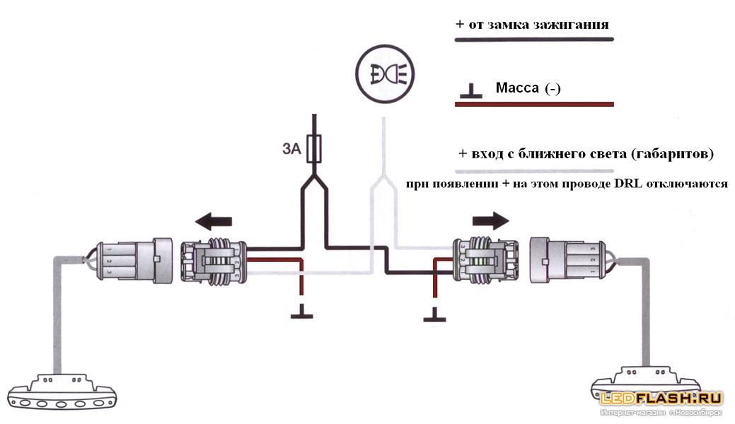 Фары дневного света (дневные ходовые огни DLR) 2*5Вт 900-Люмен
